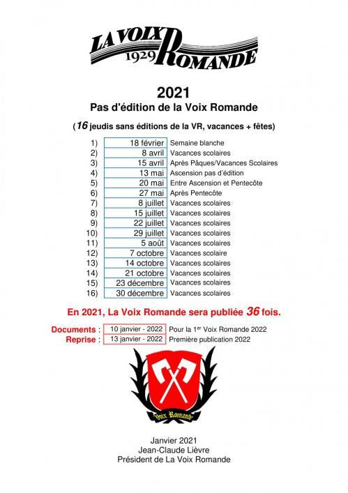 Non parution en 2021 pour les membres vr 1